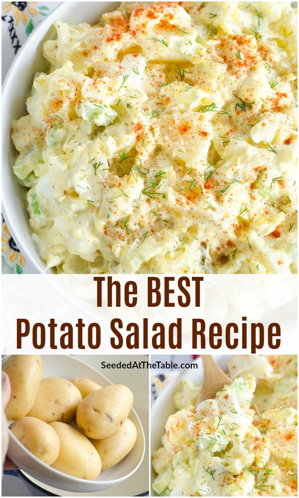Look no further for the best potato salad recipe. This is my favorite homemade potato salad with eggs, celery, onion, pickles and a creamy potato salad dressing. You will love this classic recipe!