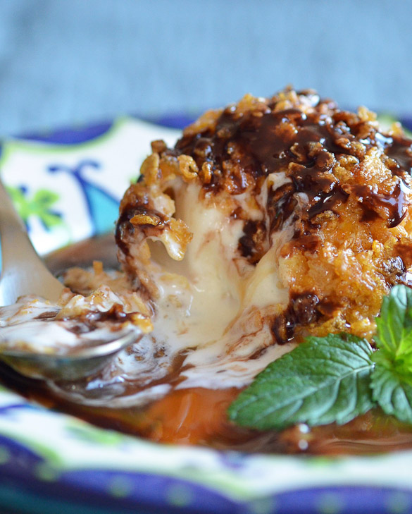 fried ice cream with a spoon