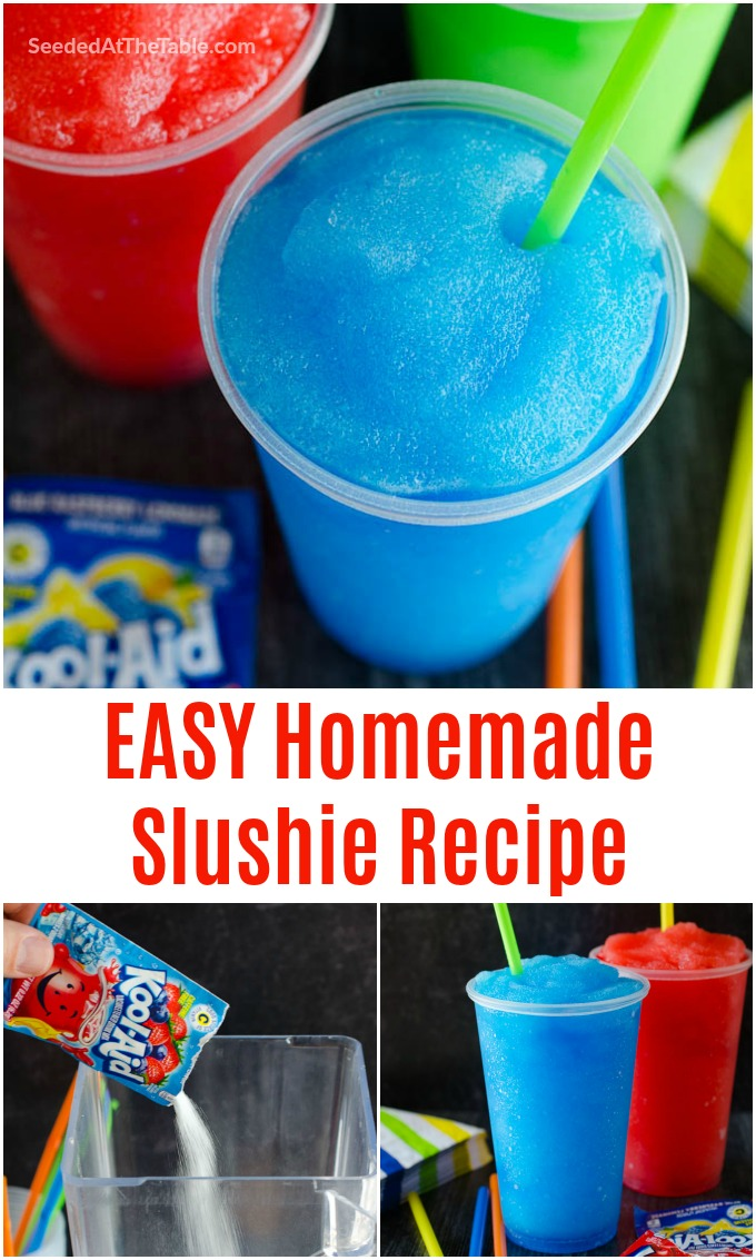 Learn how to make a slushie in your blender at home with just 4 ingredients. This homemade slushie recipe, using Kool-aid powder, is a summertime favorite and comes together in less than 5 minutes!