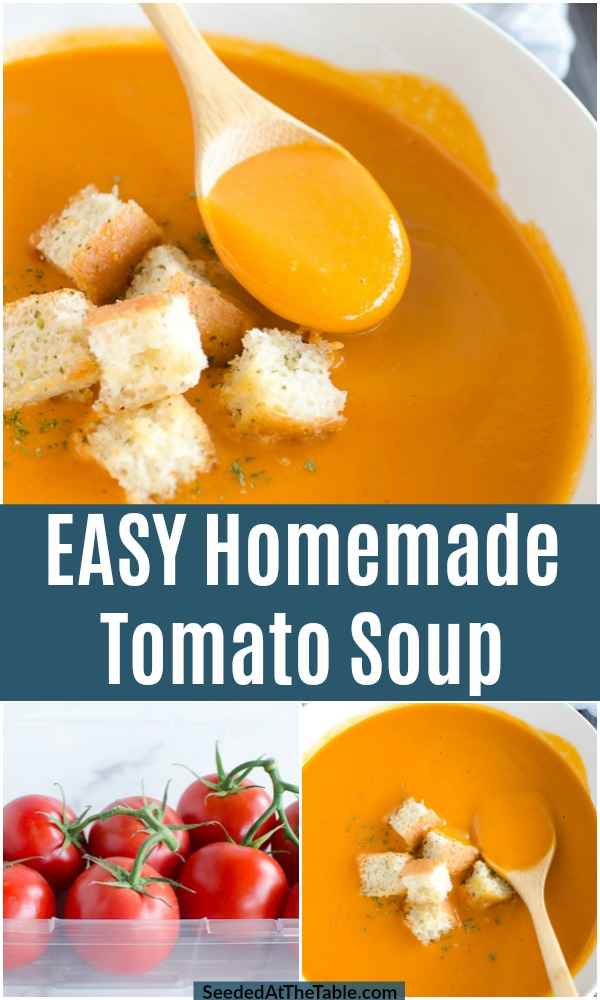 This easy tomato soup recipe is the best tomato soup from scratch! Roasted tomatoes, onions, broth, garlic and herbs are all you need to make this creamy homemade tomato soup.