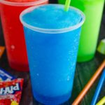 red blue and green slushie drinks