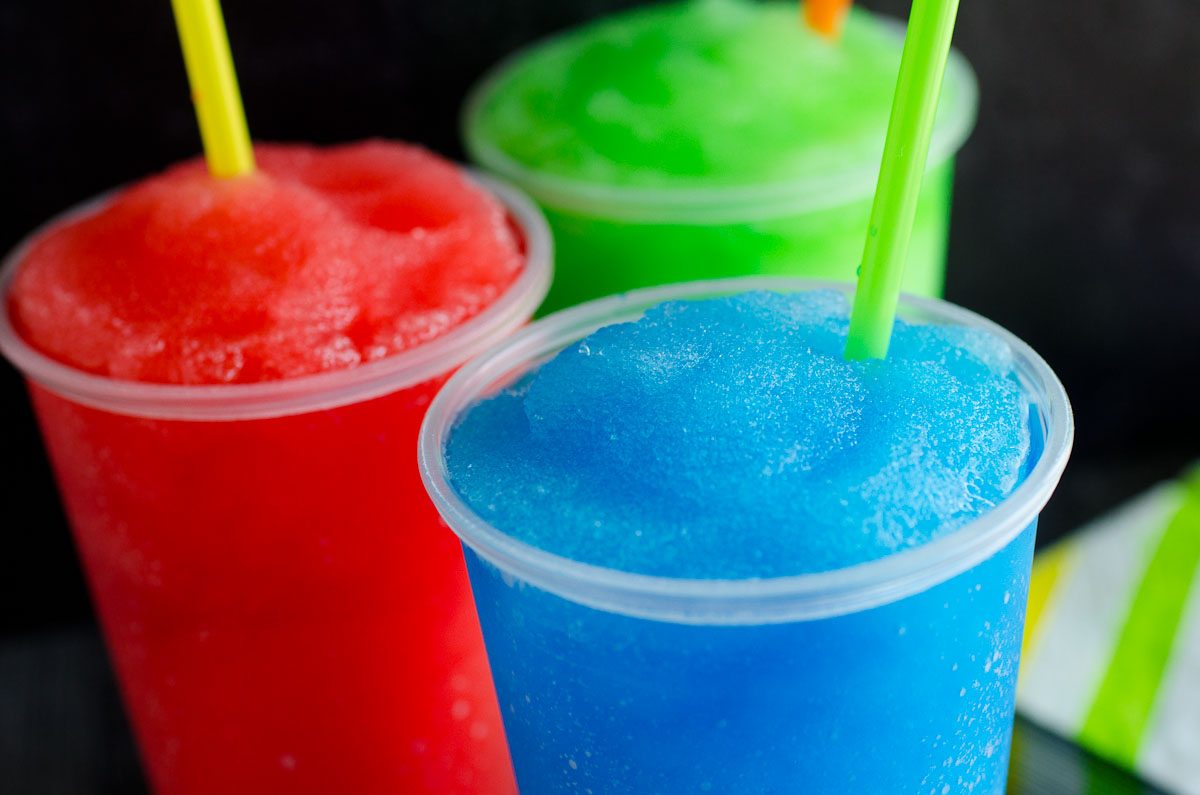 red blue and green slushies