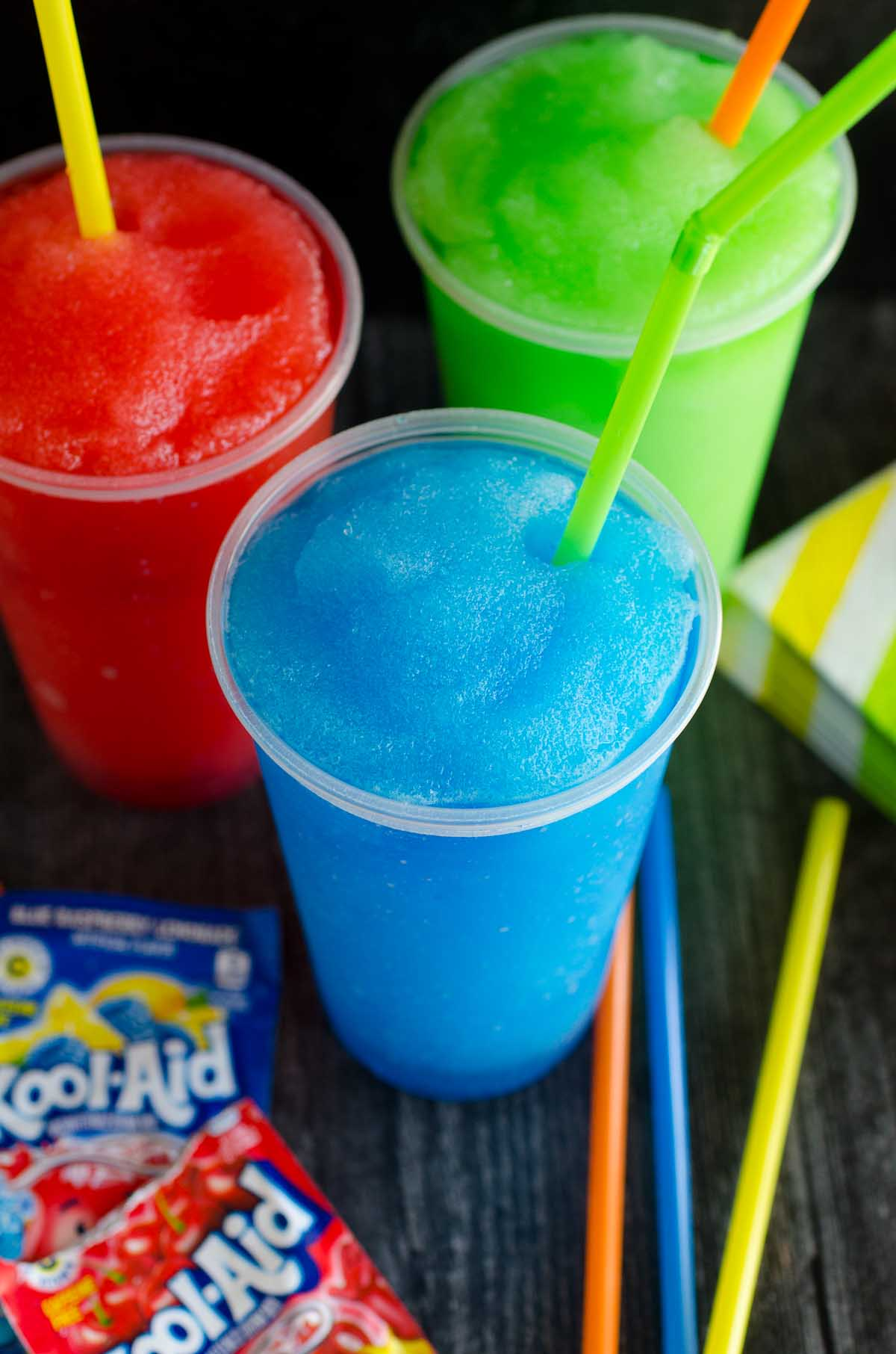 red blue and green slushie frozen drinks