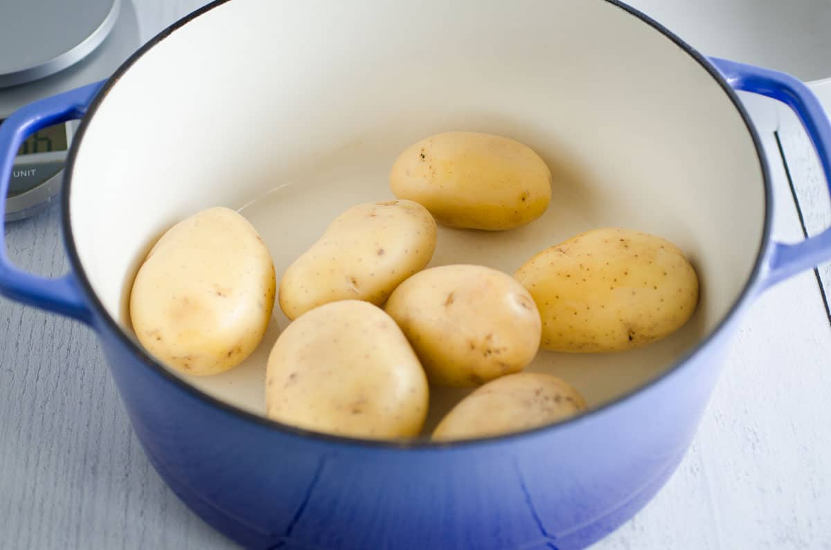 potatoes in a dutch oven for potato salad recipe