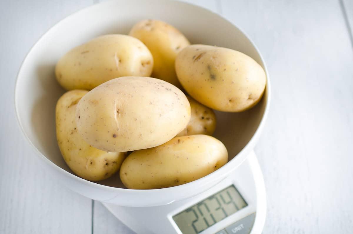 weighing potatoes for potato salad recipe