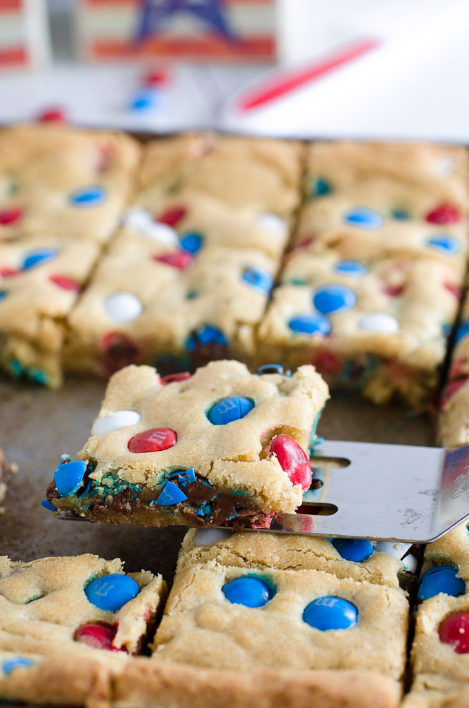 cookie bars with red white and blue M&M candies