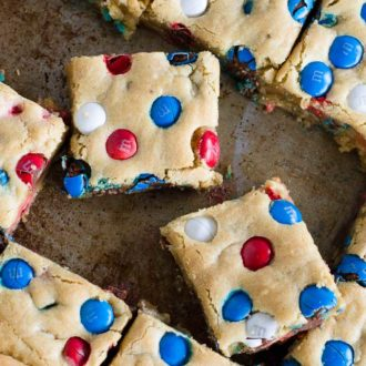 cookie bars with red white and blue M&M's