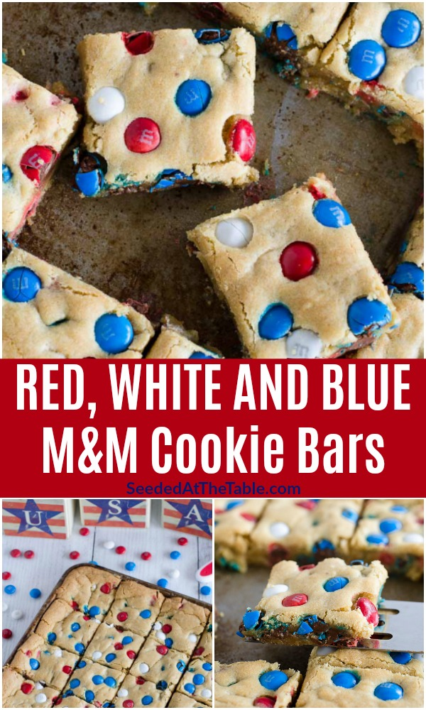 These cookie bars have red white and blue M&M's studded throughout for a patriotic M&M cookie recipe! Everyone loves these soft chewy American cookies!
