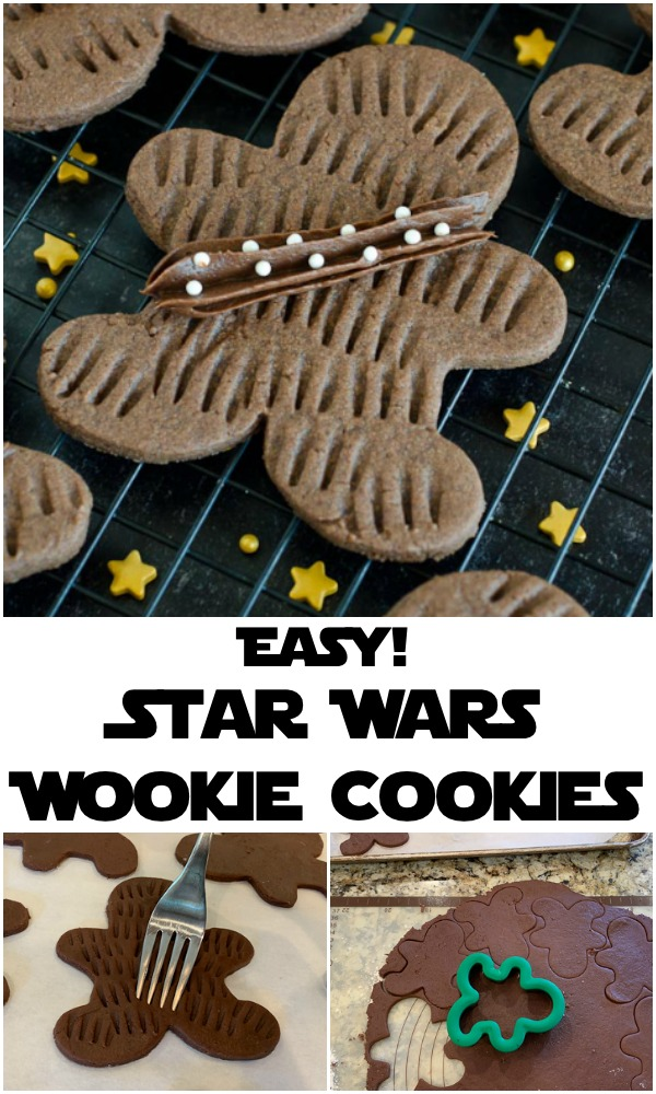 Star Wars fans will love these Wookie Cookies -- an easy chocolate sugar cookie recipe using a fork for the simple wookie details. May the fourth be with you as you chew on these Chewbacca cookies for Star Wars day!