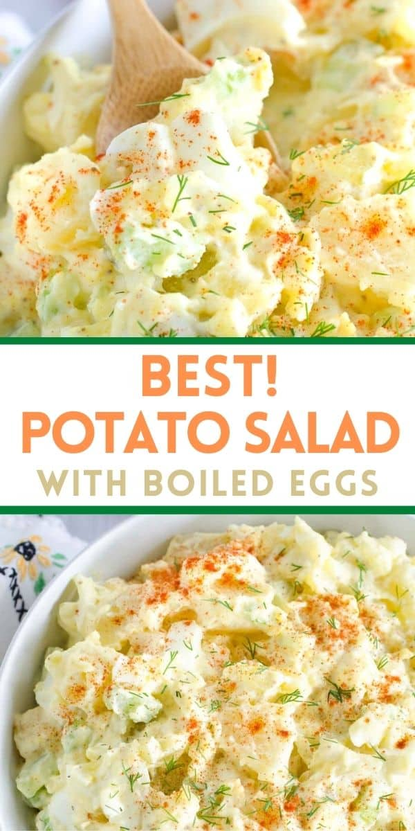 The BEST potato salad recipe! This is our favorite classic potato salad with eggs, celery, onion, pickles and a creamy dressing.