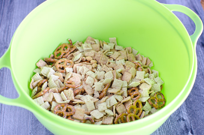 chex mix in a large bowl