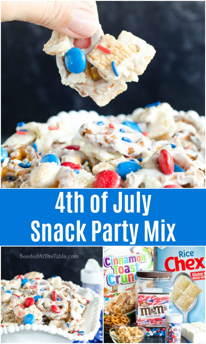 This 4th of July snack mix is the best combination of sweet and salty for your patriotic party. Easy red white and blue recipe that comes together within minutes!