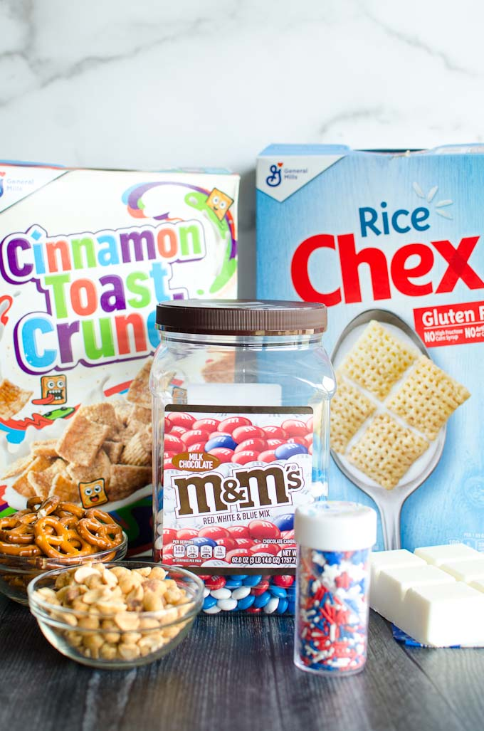ingredients for 4th of july party mix