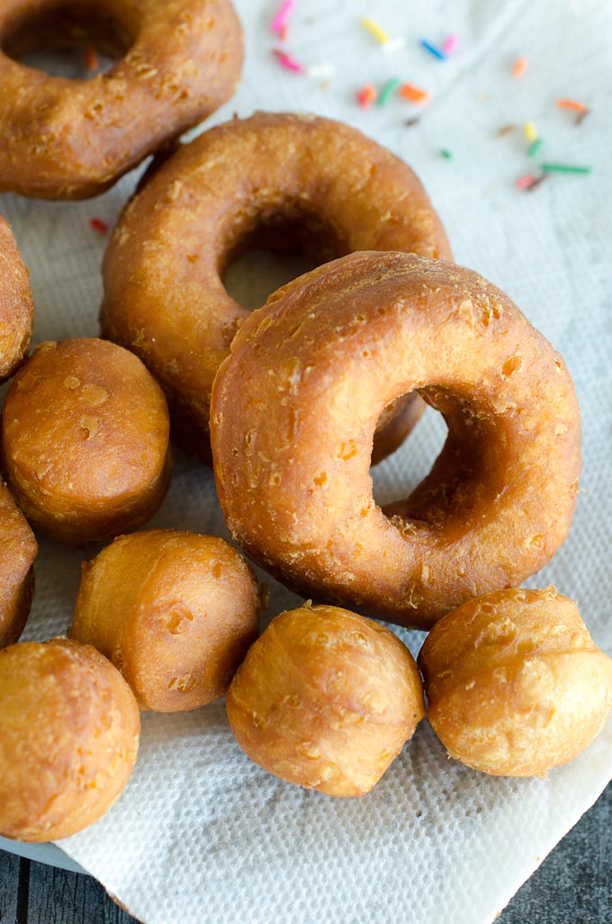 plain fried donuts and donut holes