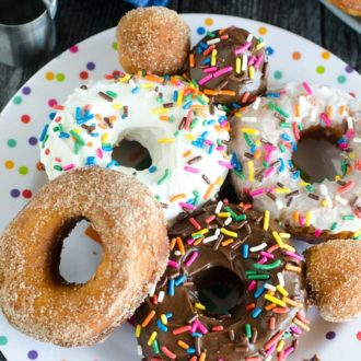 plate of donuts and donut holes