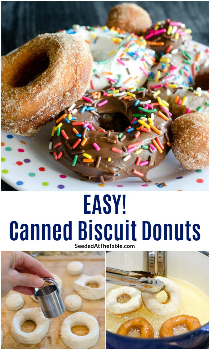 "Biscuit donuts are the easiest way to make donuts at home. To make these ""homemade donuts"" you just need canned biscuits, vegetable oil and toppings!"