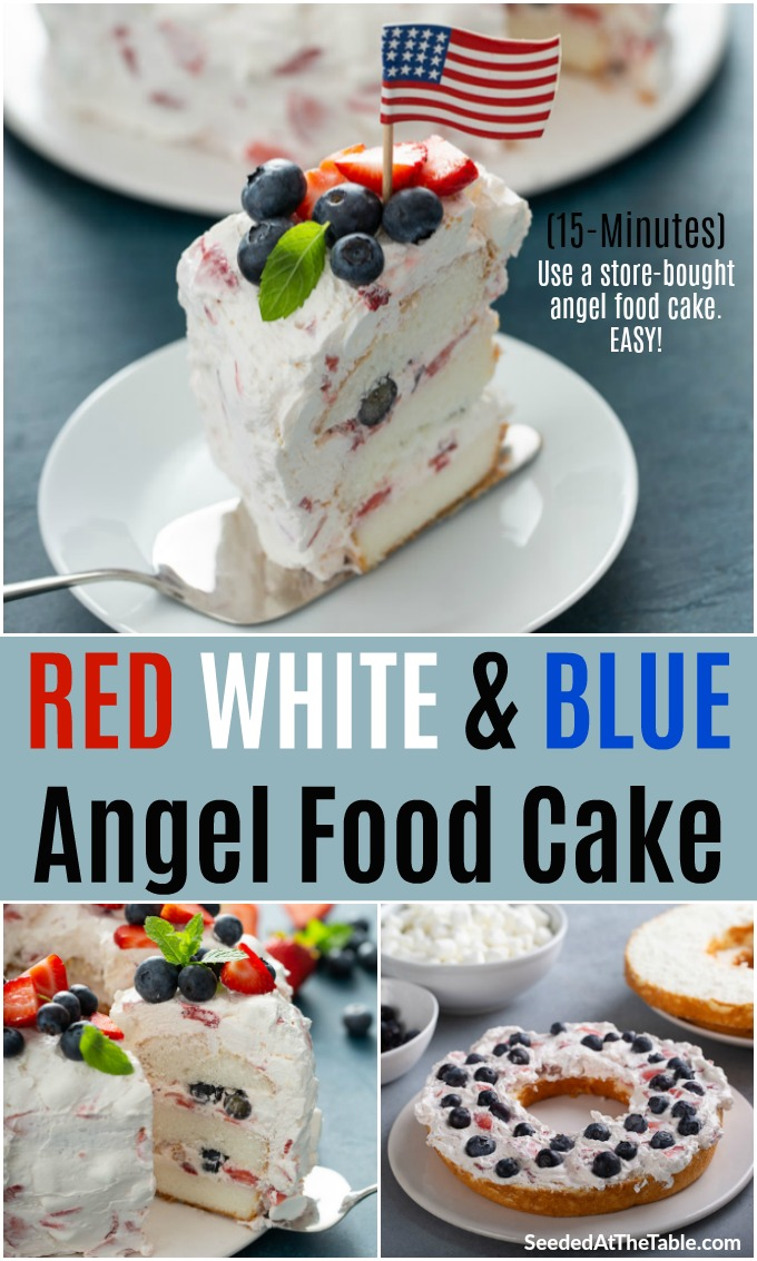 This layered cake is an easy red, white and blue dessert you can make quickly with a store-bought angel food cake. The filling is simply a mixture of strawberries, mini marshmallows and Cool Whip then sprinkled with blueberries. You will love this light and fluffy angel cake!