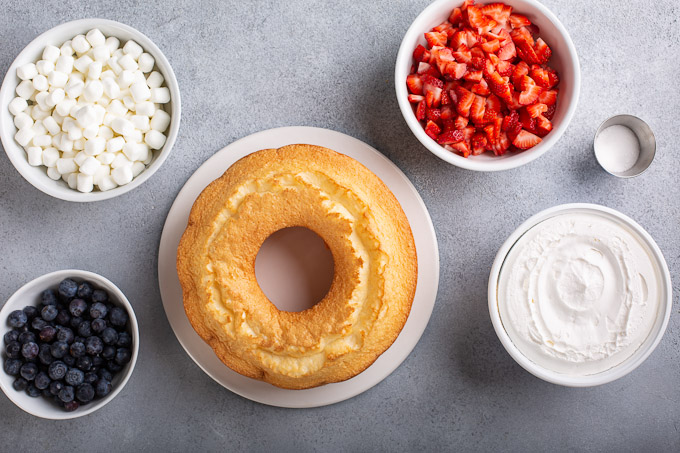 ingredients for red white and blue angel food cake