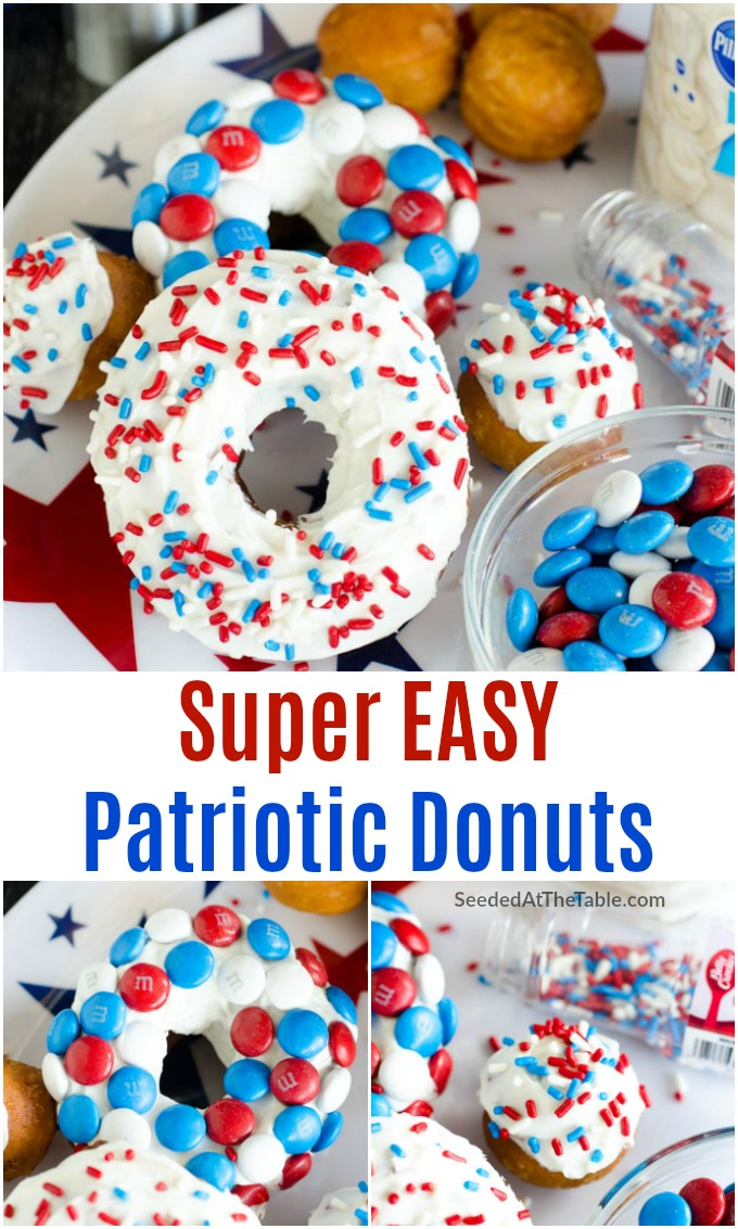 Stars and Stripes Biscuit Donuts is a fun 4th of July recipe using canned biscuits. Learn how to make donuts the easy way!