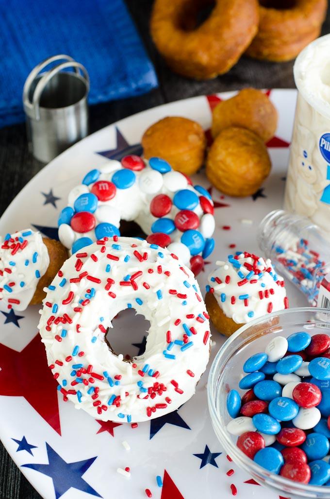 plate of patriotic donuts and sprinkles