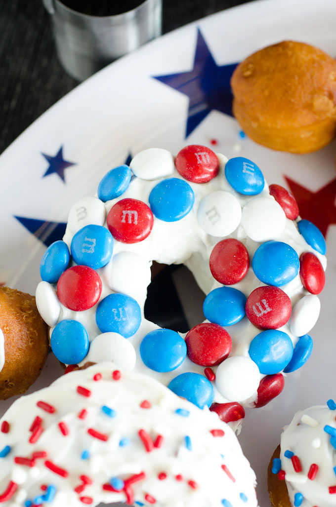 red white blue M&M's on donut
