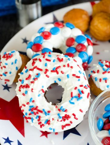 red white and blue sprinkle donuts