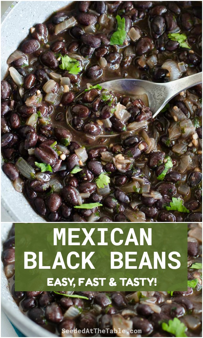 This Mexican Black Beans recipe is an easy and tasty restaurant-style side dish for any Mexican dinner! Serve it with your tacos, enchiladas, fajitas and burritos to complete your Tex-Mex meal.