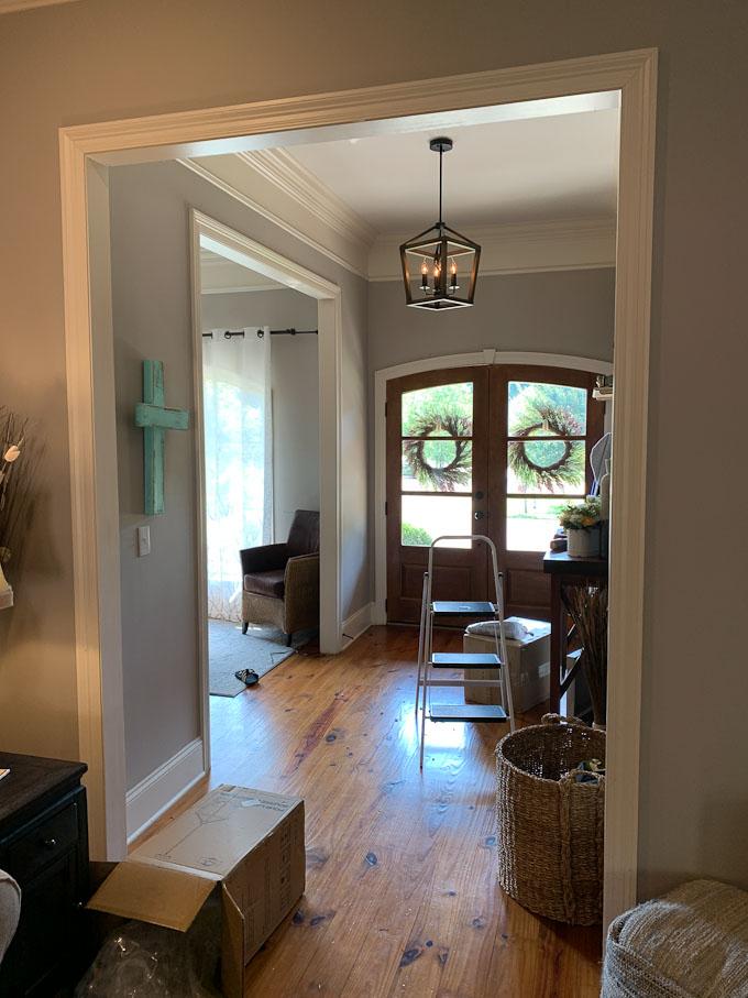 rustic pendant light in foyer