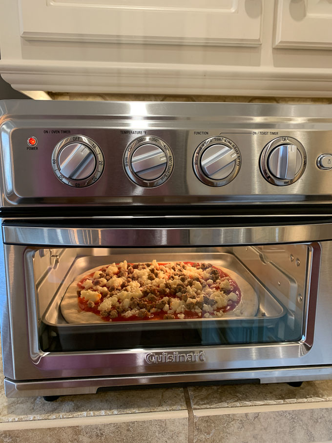 fresh pizza in air fryer toaste oven