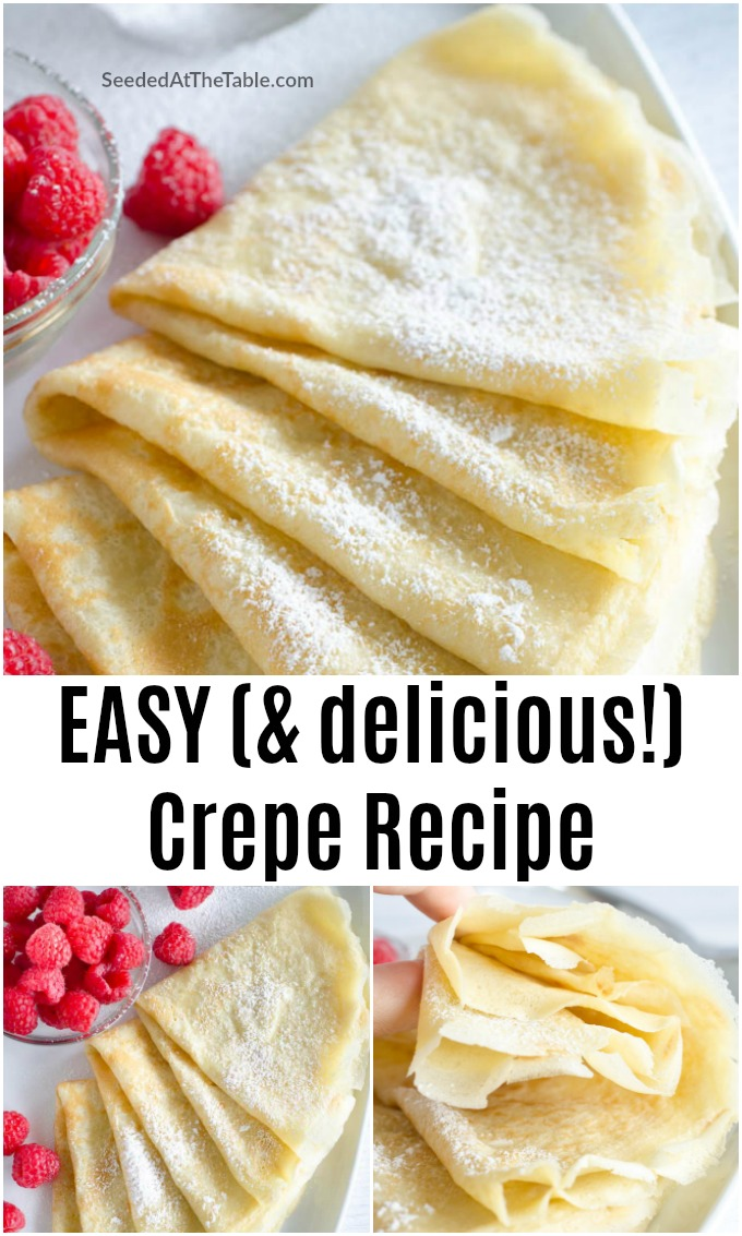 No fancy equipment is needed for this easy crepe recipe. Mix flour, milk, eggs and baking powder in a blender to make this basic crepe batter for breakfast or dessert!