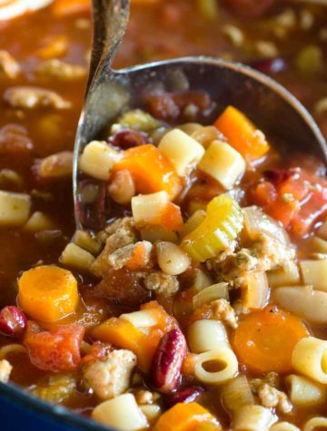 pasta soup in ladle