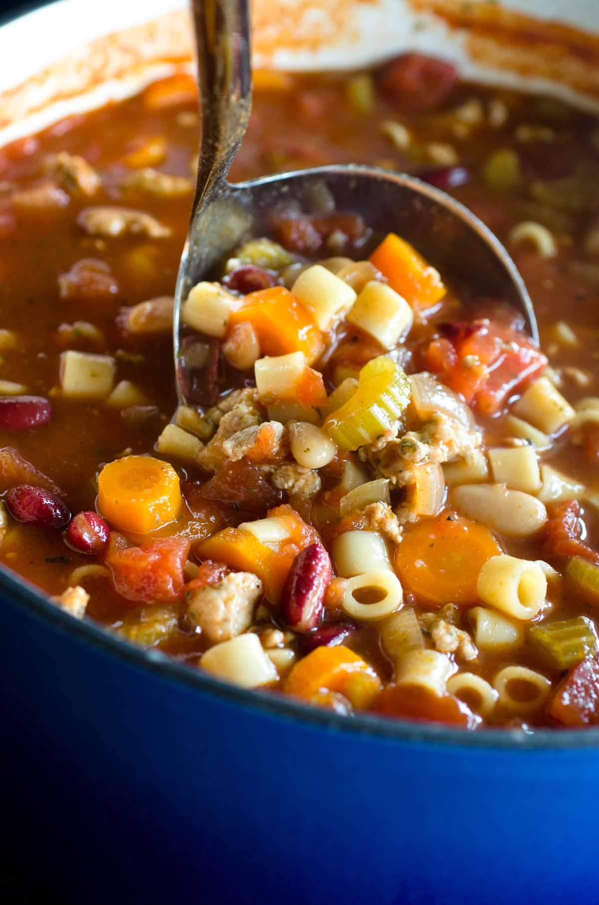 pasta soup in ladle pot