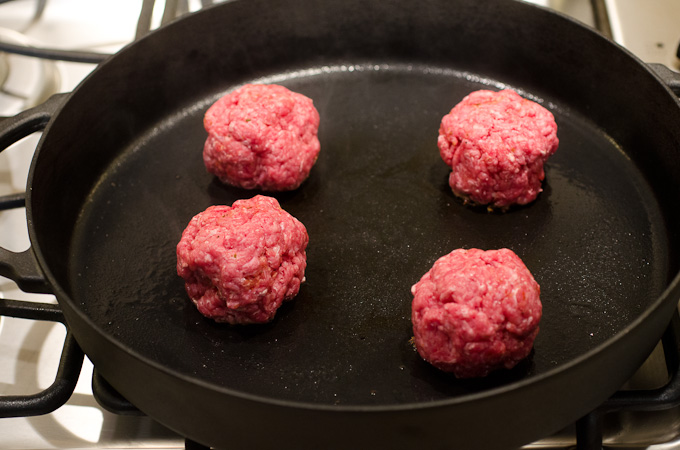 ground beef rounds on skillet