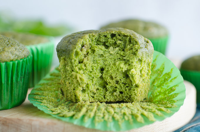 bite out of green muffin