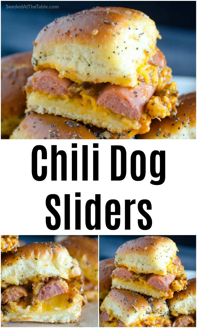 These baked chili dog sliders are simply hot dogs sandwiched into pull-apart rolls with melted cheese and chili sauce. An easy dinner idea for your family OR the ultimate party food!