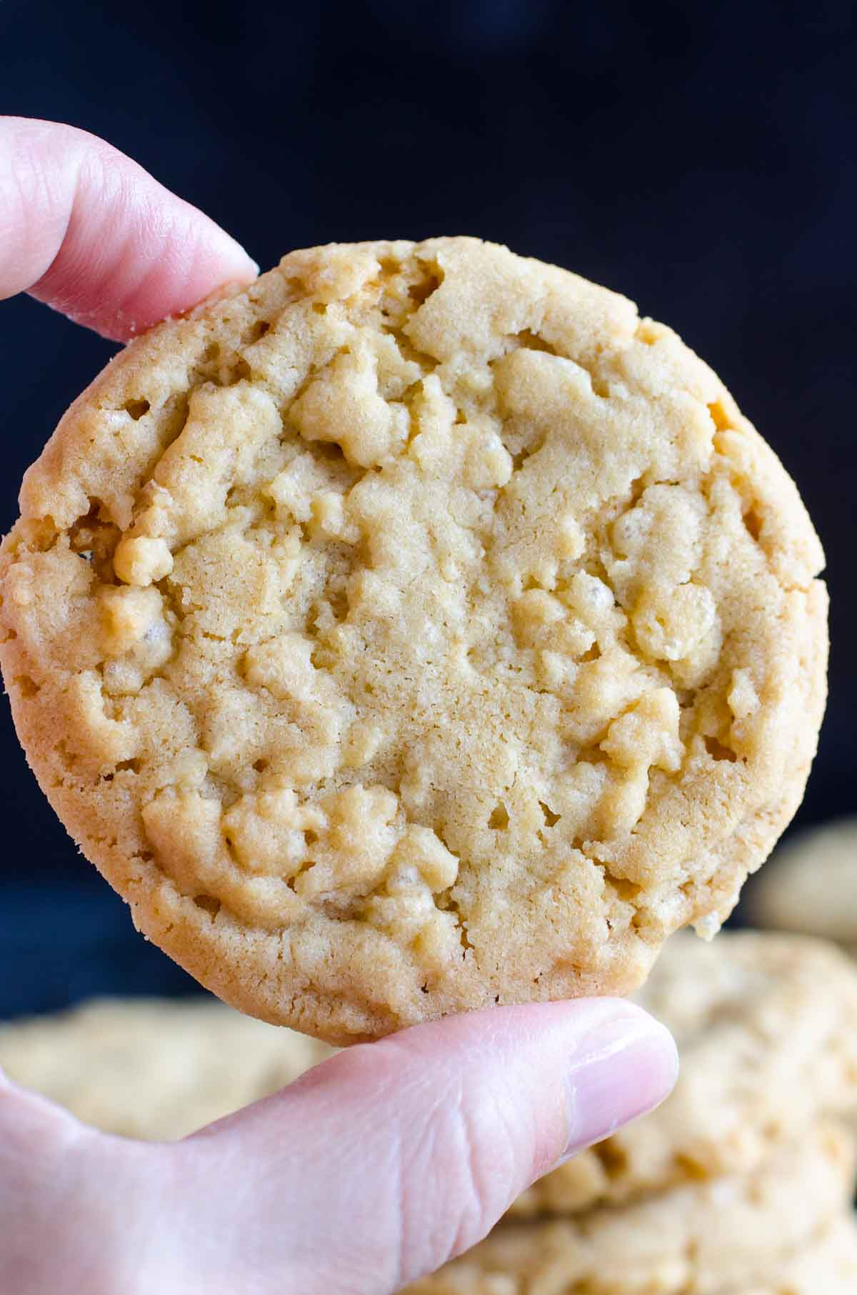 holding round cookie up close