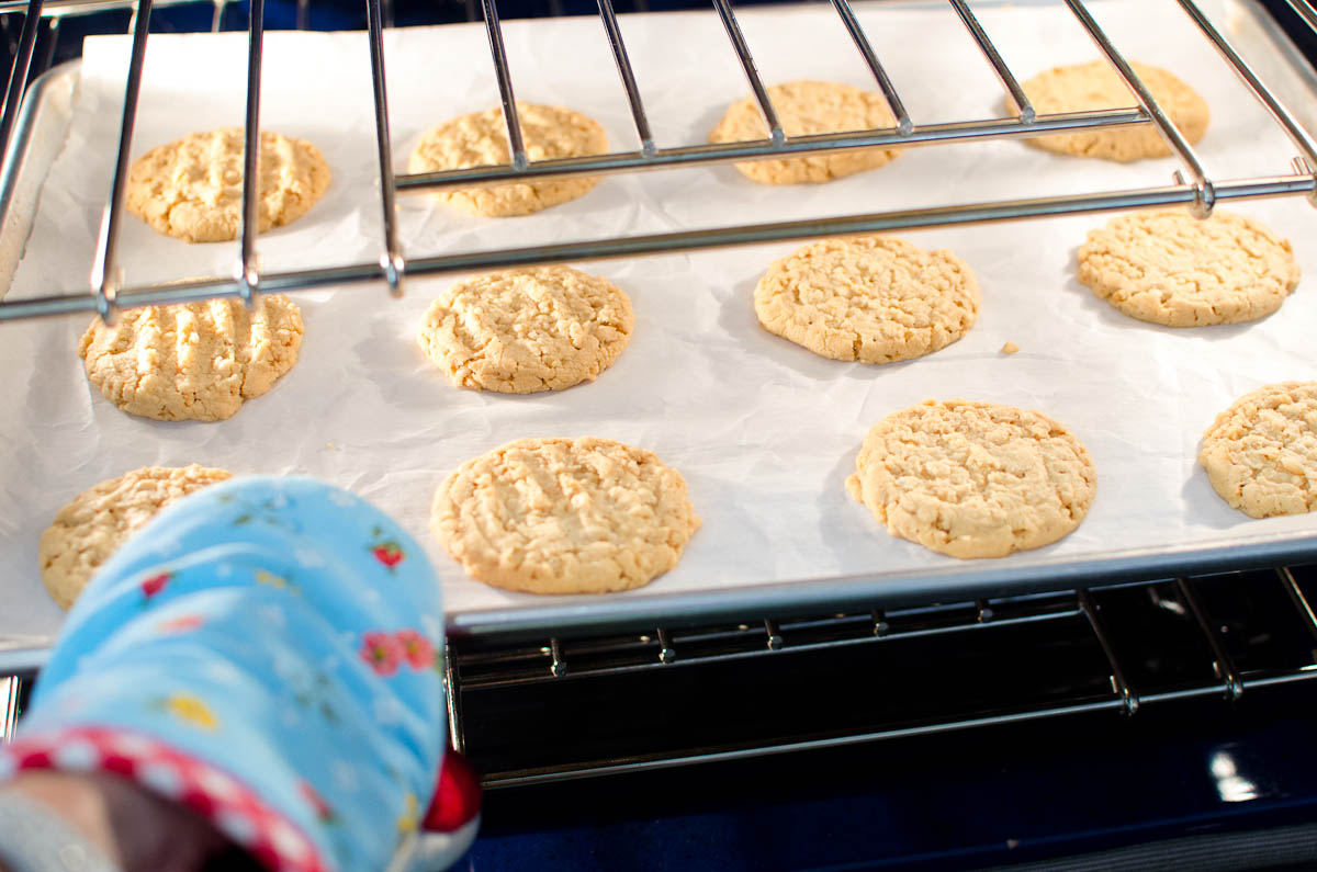 taking a dozen round cookies out of oven
