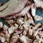 chopped and sliced smoked brisket