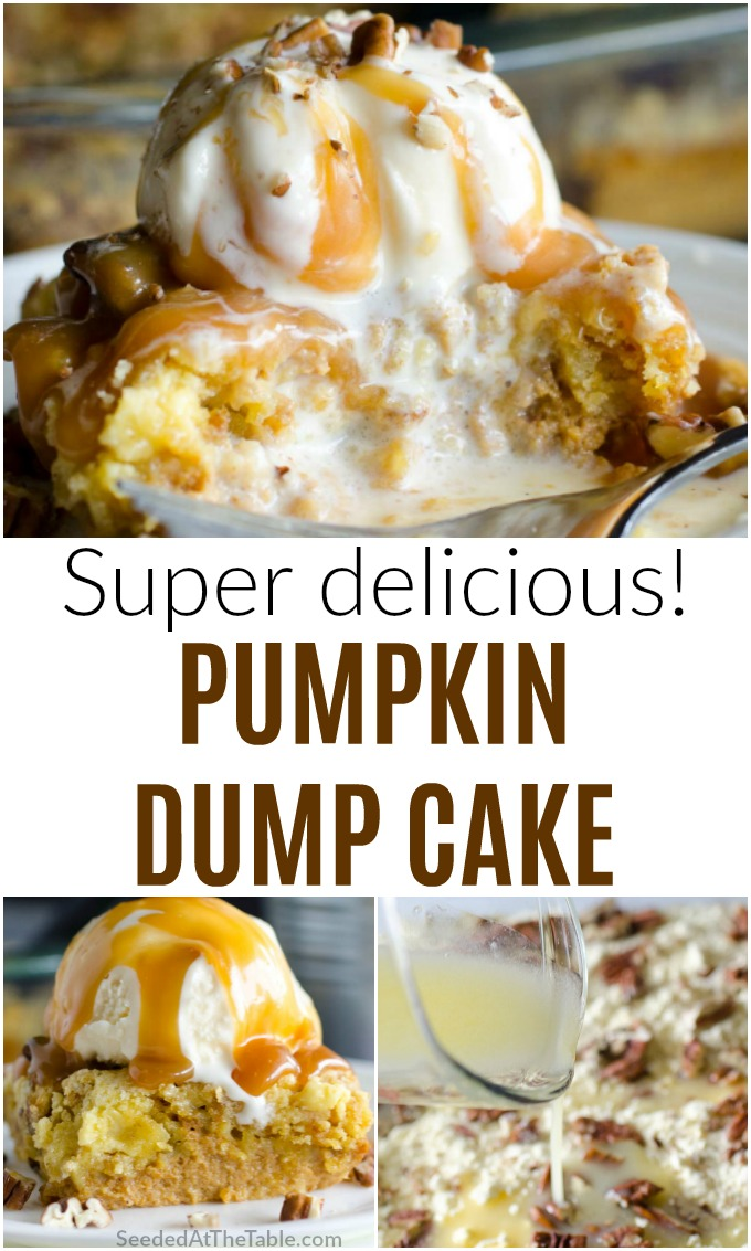 This easy pumpkin dump cake is like a warm delicious pumpkin cobbler. It is a favorite fall dessert served with ice cream and caramel over top. Don't miss this one!