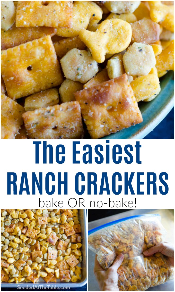 Your favorite snack crackers with ranch and a few other tasty seasonings. Bake or no-bake, these crackers are ready in a jiffy and gobbled up even faster!