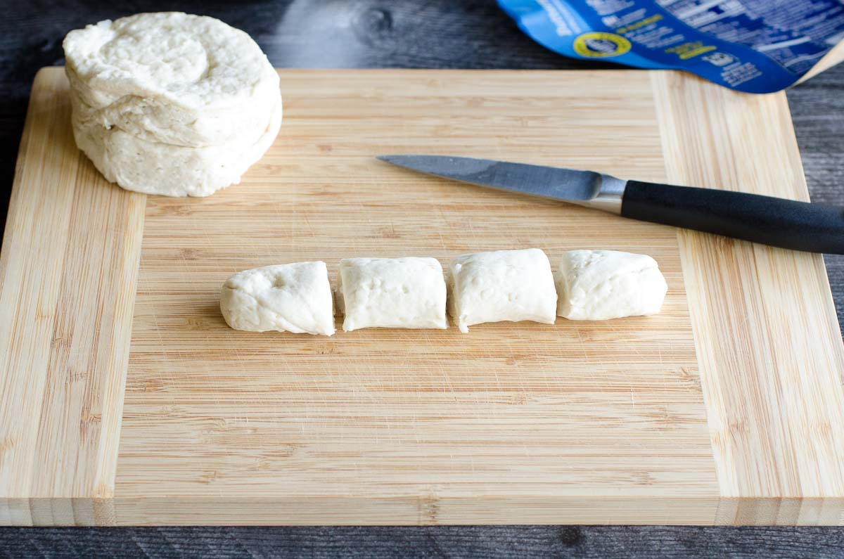 biscuit dough cut into 4 equal pieces