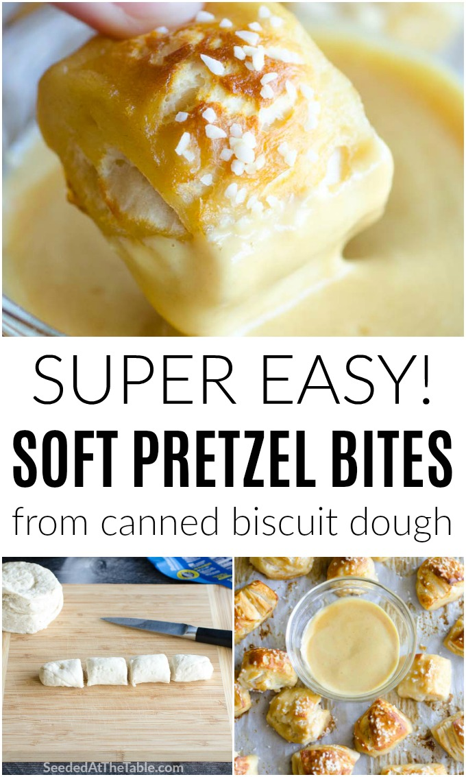 This soft pretzel bites recipe is SO easy you won't believe it! Using canned biscuits, these quickly come together in 15 minutes.