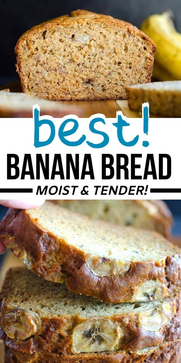 My best banana bread recipe because it is easy, moist and packed with flavor. The best way to use up ripe bananas!