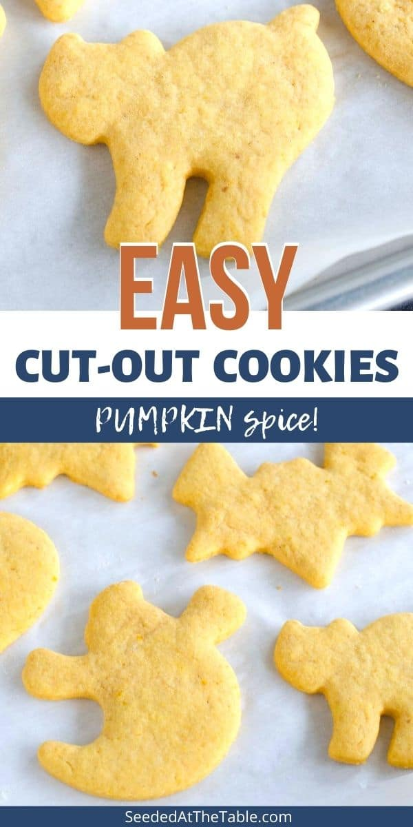 Try our favorite pumpkin cut-out sugar cookies for Halloween and the fall season! These hold their shape and are perfect for icing and sprinkles.