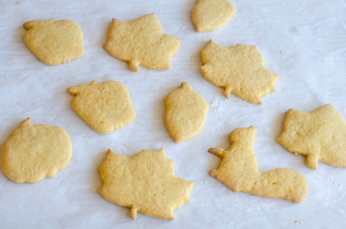 fall shaped cut out pumpkin cookies