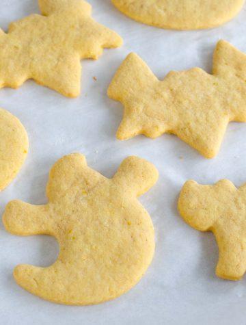 ghost bat and cat pumpkin sugar cookies