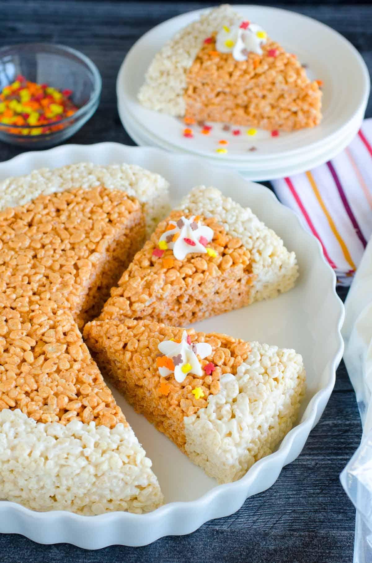 rice krispies treats shaped like slices of pumpkin pie