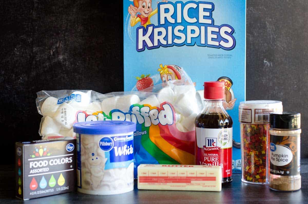 ingredients for pumpkin pie rice krispies treats