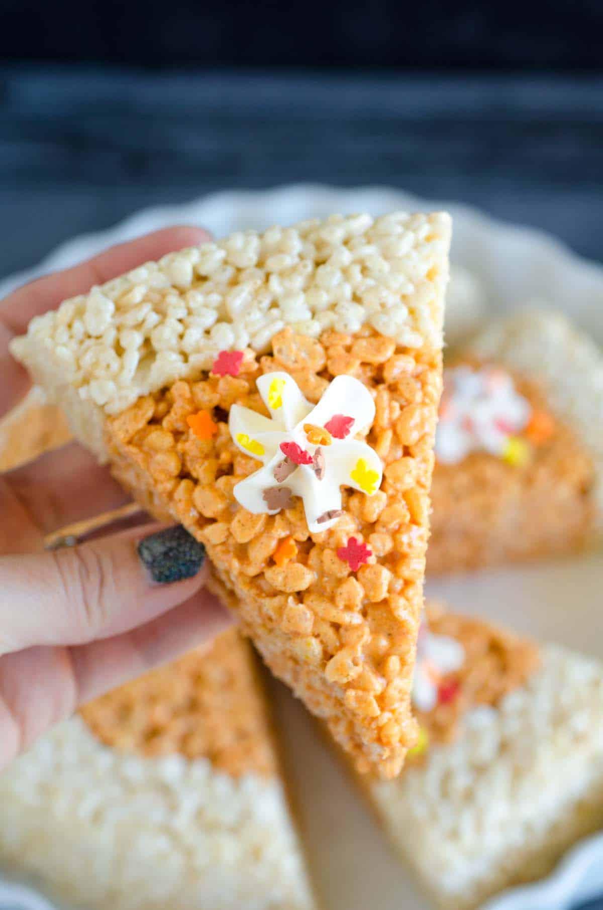rice krispies treat in shape of pumpkin pie