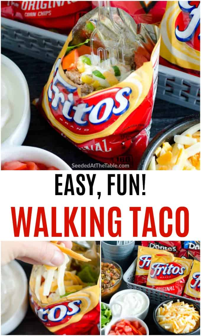 A walking taco is taco meat in a bag of Fritos or Doritos with all your favorite toppings. A fun party food! Everyone fixes their own and walks around eating from the delicious bag in their hands.
